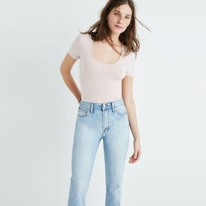 Madewell Cameo Scoop Bodysuit in Avalon Pink